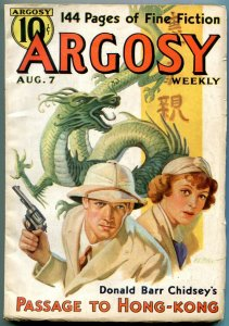 Argosy Pulp August 7 1937- Dragon cover- Passage to Hong Kong FN