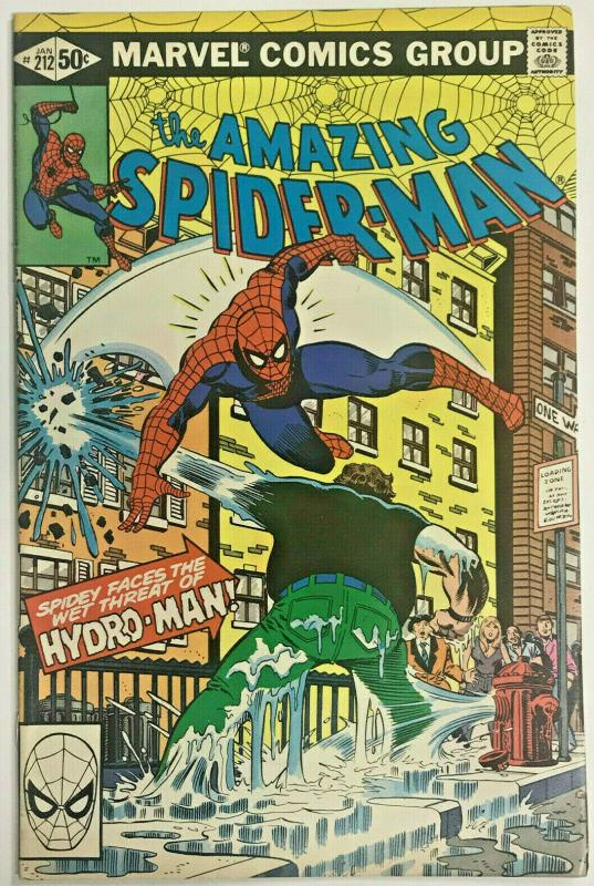 AMAZING SPIDER-MAN#212 FN/VF 1981 FIRST HYDRO-MAN MARVEL BRONZE AGE COMICS
