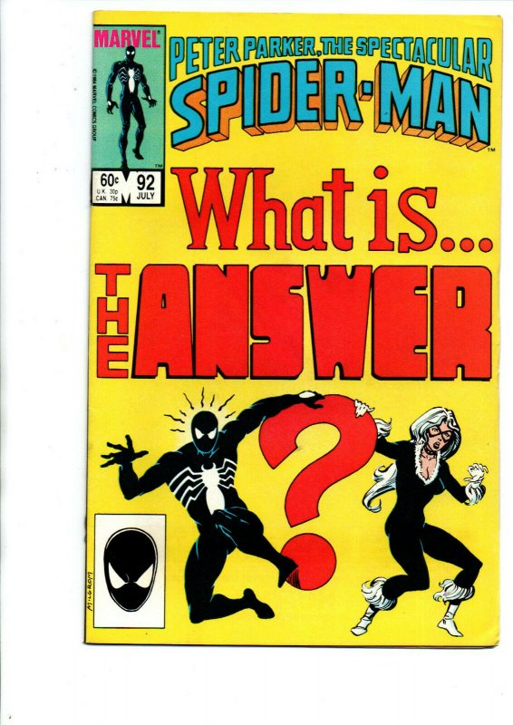 Peter Parker the Spectacular Spider-man #92 - black costume w/Black Cat - VF/NM