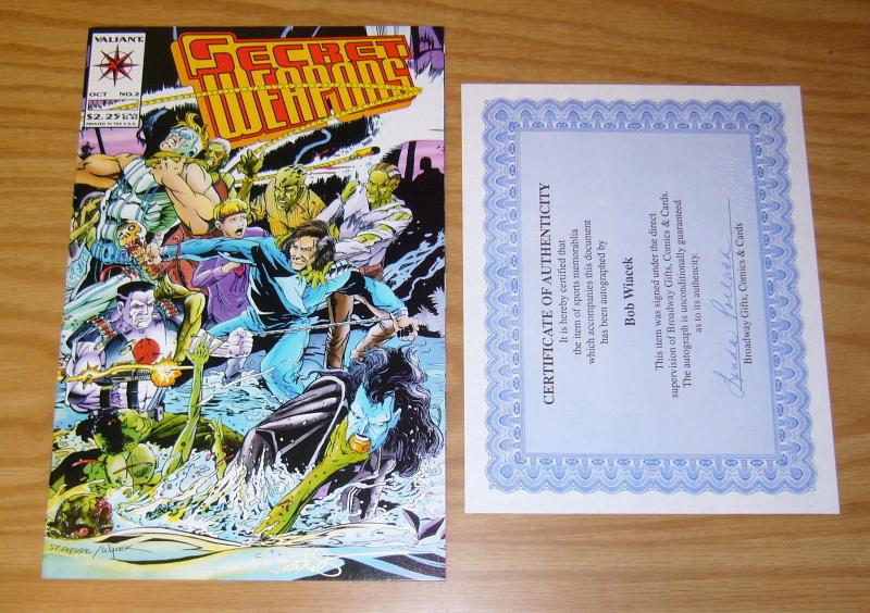 Secret Weapons #2 VF/NM signed by bob wiacek with COA - valiant comics 1993