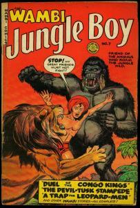 Wambi Jungle Boy #7 1950- Golden Age-Fiction House Gorilla Lion VG+