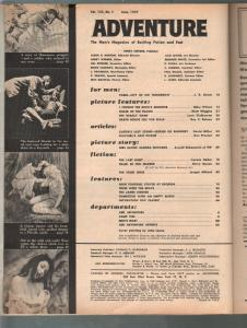 Adventure 6/1959-shark terror cover-Ellery Queen pulp fiction-cheesecake pix-VG-