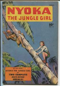 NYOKA THE JUNGLE GIRL #10 1947-DINOSAURS-BONDAGE-TERROR-ROY ROGERS-fn-