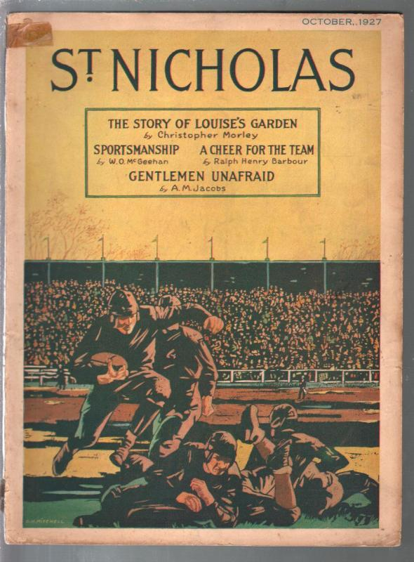 St. Nicholas 10/1927-football-Charles Linberg-Lawrence of Arabia-VG-
