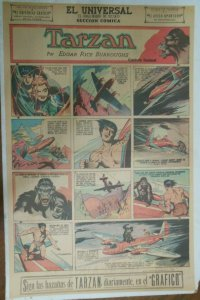 Tarzan Sunday Page #592 Burne Hogarth from 7/12/1942 in Spanish ! Full Page Size