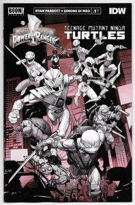 Power Rangers TMNT #1 Unlocked B&W Variant (Boom, 2020) NM