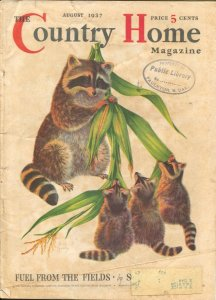 Country Home 8/1937-Crowell-raccoon family cover by Jack Murray-pulp fiction-...