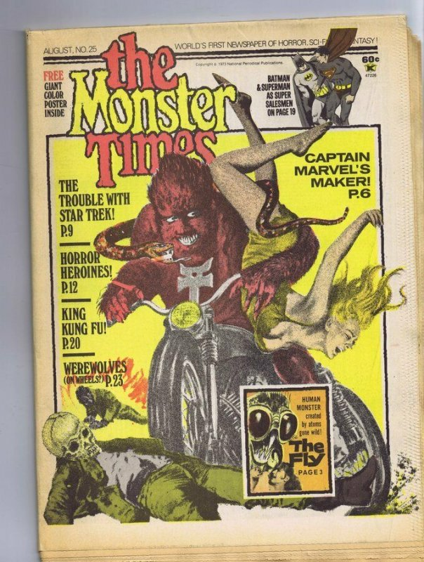 ORIGINAL Vintage 1973 The Monster Times Horror Newspaper Magazine #25 Batman