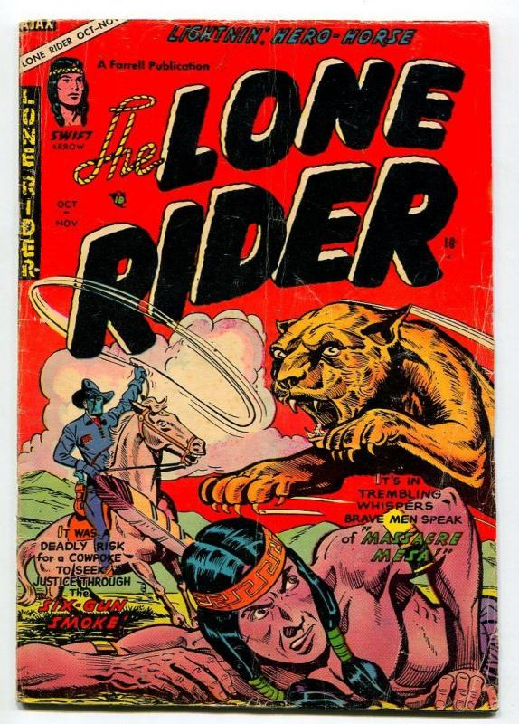 LONE RIDER #22 1954-WILD ANIMAL ATTACK COVER-VG