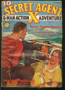 SECRET AGENT X 1937 FEB-WOMAN TIED UP ON COVER--PULP G