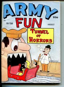 Army Fun 8/1963-Crestwood-military-spicy cartoons-jokes-horror tunnel-VG/FN