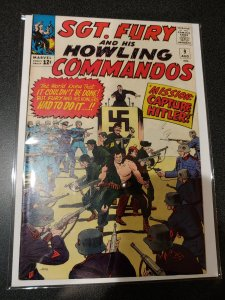 Sgt Fury and his Howling Commandos #9 Hitler Cover 1964 high grade vf