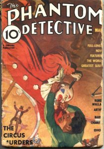 PHANTOM DETECTIVE-1936-MARCH-CIRCUS MURDERS-LOW GRADE-HERO PULP FICTION