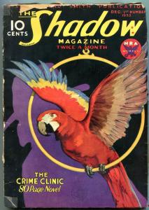 The Shadow Pulp December 1st 1933- Crime Clinic- Parrot cover FAIR