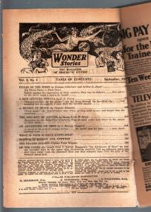 WONDER STORIES 1931 SEP-SCI FI PULP-BARGAIN COPY P/FR