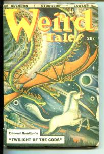 WEIRD TALES 07/1948-MATT FOX COVER-STURGEON-HORROR-GUINTA-NAPOLI-COYE-vg
