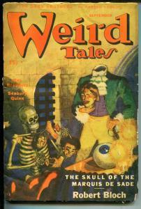 Weird Tales 9/1945-Skeleton-skull-dismemberment-pulp horror-Bradbury-Bloch-FR