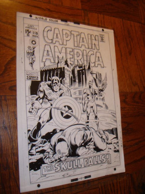 CAPTAIN AMERICA FALCON RED SKULL COVER PRODUCTION ART TRANSPARENCY