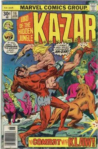 Ka-Zar #16 (1974 v2) Mark Jewelers Variant VG