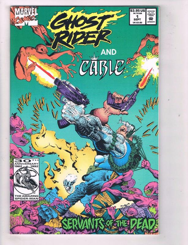 Ghost Rider & Cable # 1 NM Marvel Comic Book Servants Of The Dead 1992 AD32