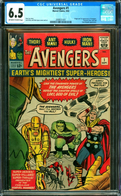 Avengers #1 CGC Graded 6.5 Origin and 1st appearance of Avengers. Fantastic F...