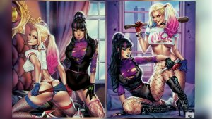 NOTTI & NYCE: Harley Quinn & Punchline CLOWNING AROUND VIRGIN SDCC Elias
