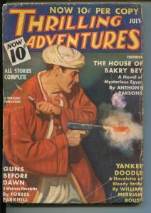 THRILLING ADVENTURES 07/1936-ACE JORDAN-HARD BOILED-PULP-EGYPTOLOGY-vg minus