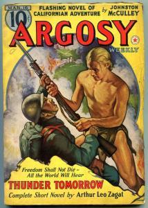 Argosy Pulp March 16 1938- Johnston McCulley- Thunder Tomorrow FN