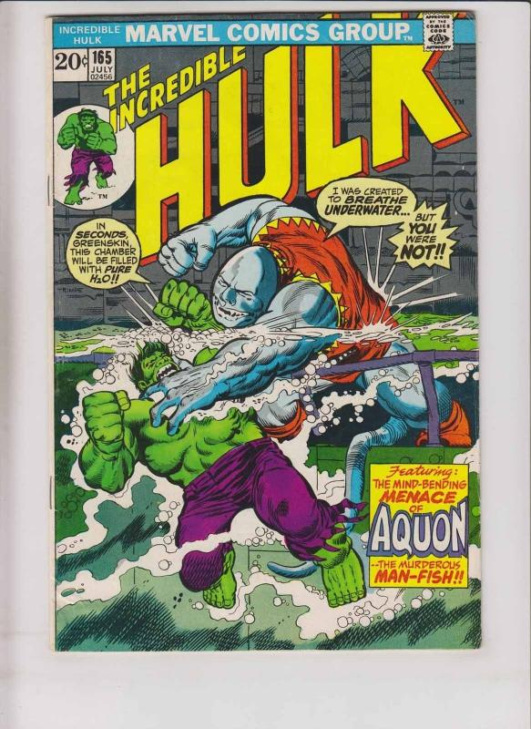 Incredible Hulk #165 FN steve englehart - herb trimpe - aquon - bronze age 1973