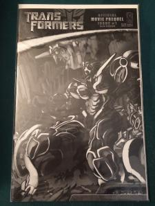 Transformers Official Movie Prequel #1 cover B Black& White version