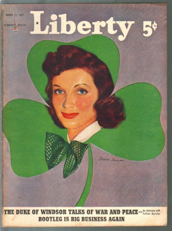 Liberty 3/22/1941-pulp fiction-Chidsey-Jack Dempsey-Hitlse-GGA cover-VG+