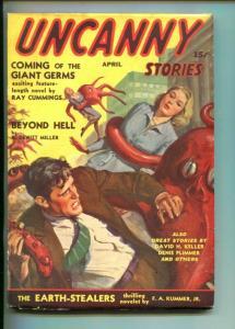 UNCANNY STORIES-04/1941-1ST ISSUE-JACK KIRBY ART-WEIRD MENACE-HORROR-vf