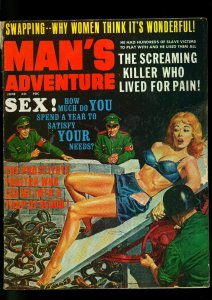 Man's Adventure Pulp Magazine June 1967- Snake Nazi Torture cover- G/VG