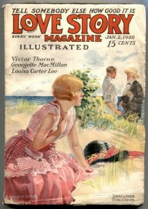 The Love Story Pulp January 2 1926- Victor Thorne VG