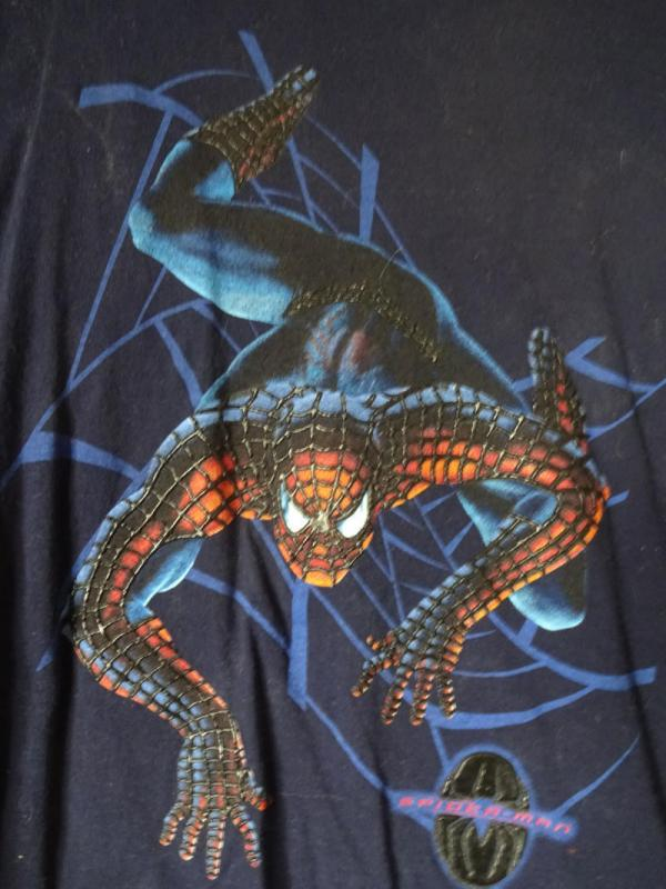 SPIDER-MAN with raised webbing, Black T-SHIRT, New, Large, Marvel, 2002