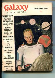 GALAXY   11/1957-SCI-FI PULP THRILLS-WALLY WOOD-JIM HARMON-ROBERT SHECKLEY-fn