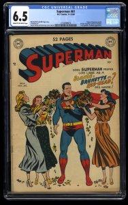 Superman #61 CGC FN+ 6.5 Cream To Off White 1st Kryptonite!