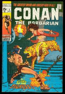 CONAN THE BARBARIAN #5 1971-TIGER COVER FN
