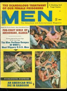 MEN MAGAZINE JULY 1961-FUN CRAZY GIRLS-FEMALE PRISONERS VF