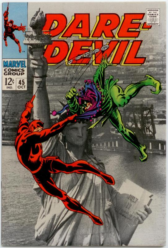 Daredevil #45 VF/NM Jester; Statue  of Liberty photo cover; small tear on cover