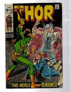 Mighty Thor # 167 FN/VF Marvel Comic Book Loki Odin Asgard Sif Avengers Hulk RB8