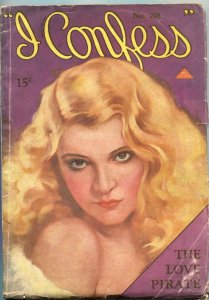 I CONFESS-MAR 27 1931-SPICY PIN UP GIRL COVER-THE LOVE PIRATE-PULP THRILL