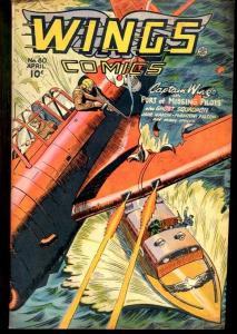WINGS COMICS #80-SPICY BOB LUBBERS ART-1947 VG/FN