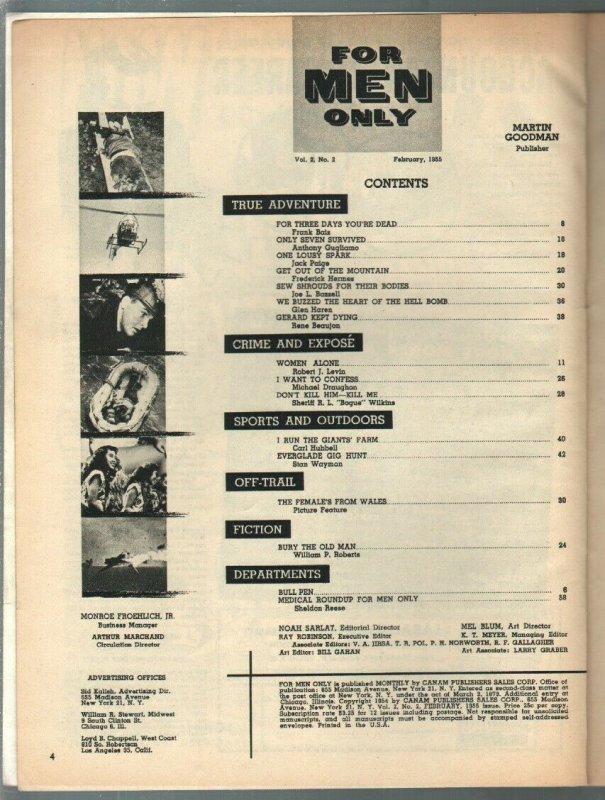 For Men Only 2/1955 Atlas-tiger attack cover-Carl Hubbell-Lisa Daniels-VG/FN
