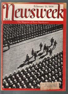 Newsweek 2/21/1938-Hitler's Nazi Army-FDR-Japan-Ford V-8-VG