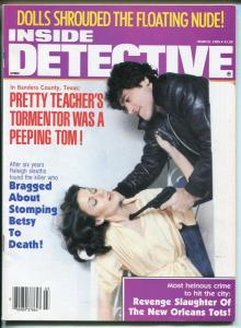 Inside Detective 3/1985-Spicy babe-stomped to death-murder-peeping Tom-pulp-FN