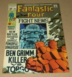 Fantastic Four #92 VF- 1969 Marvel Silver Age Comic Book Jack King Kirby Art