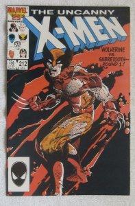The Uncanny X-Men #212 (Dec 1986, Marvel) Wolverine vs Sabretooth VF/NM 9.0