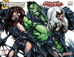 AMAZING SPIDERMAN 19 CHAMPIONS 1 VENOM BLACK CAT MJ RAMOS COLOR NYCC VARIANT SET