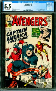 Avengers #4 CGC Graded 5.5 1st Silver Age appearance of Captain America (Stev...